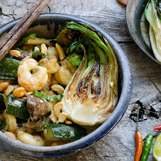 Green Curry Shrimp With Pan-roasted Bok Choy.