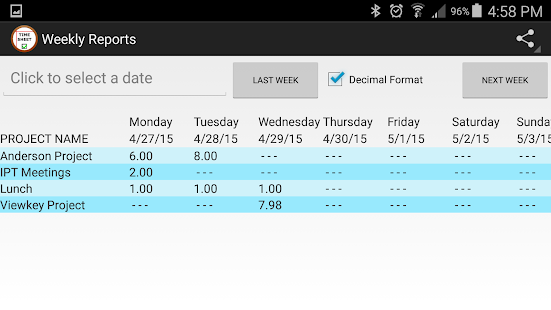 Simple TimeSheet - screenshot thumbnail