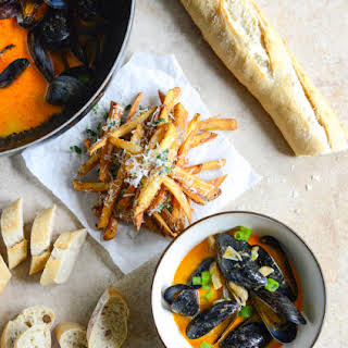 Steamed Mussels in a Coconut Curry Broth.