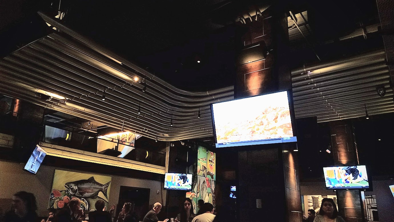 Yard House Portland offers 30 tvs go to with their 130 taps to watch a sports game.