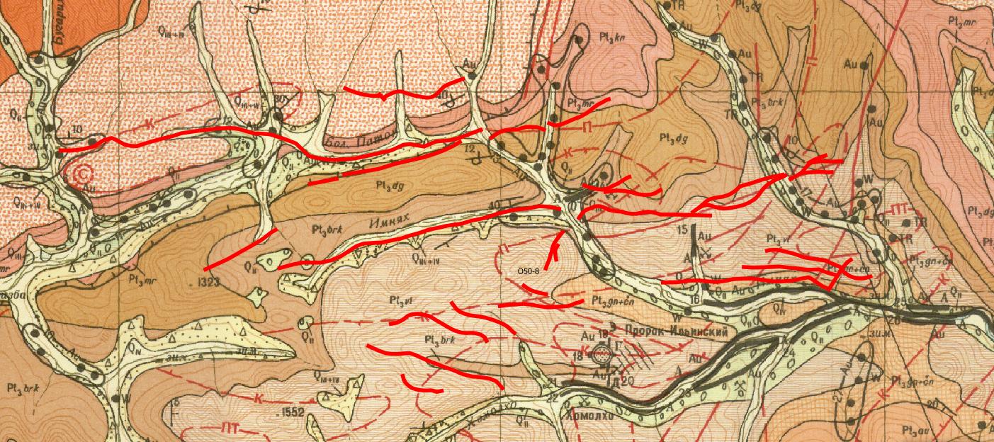 Фрагмент геологической карты 1:200000 масштаба Центральной части Хомолхинского рудного узла