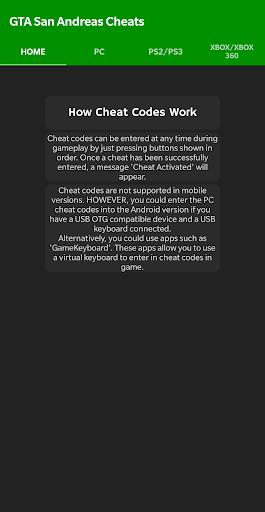 Foto do Cheat Codes for GTA San Andreas