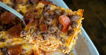 Meat Lovers Pizza Spaghetti Bake