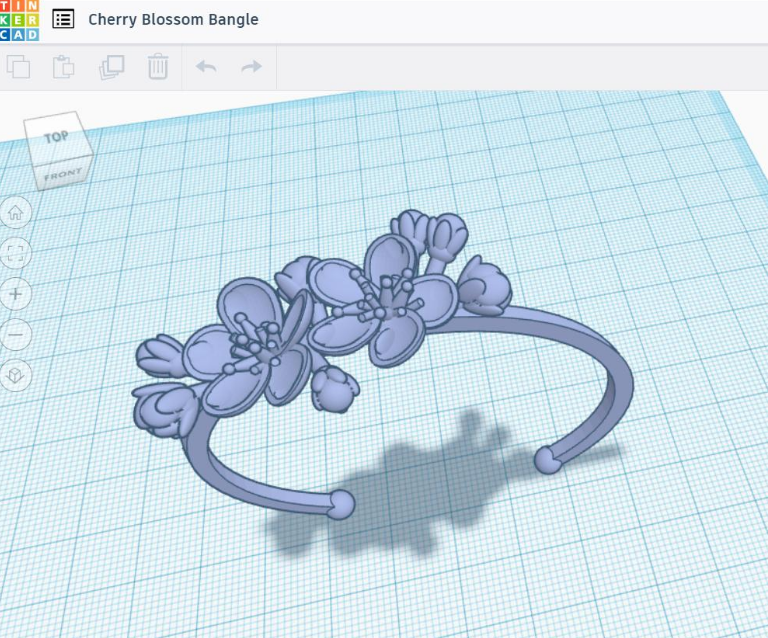 The Cherry Blossom bangle, modeled entirely in Tinkercad represents the kind of design driven modeling that can be achieved in this free, intuitive software by Autodesk.