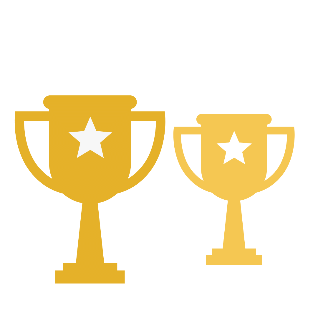 Two gold trophies