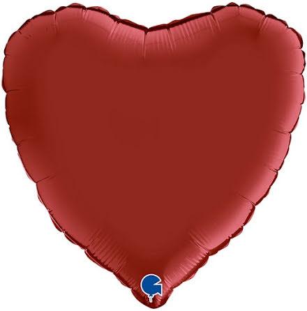 Folieballong Hjärta Satin - rubin red, 46 cm