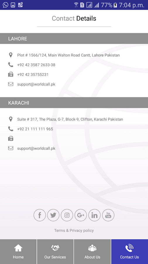 WorldCall Telecom- screenshot
