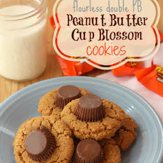 Flourless Double PB Peanut Butter Cup Blossom Cookies.