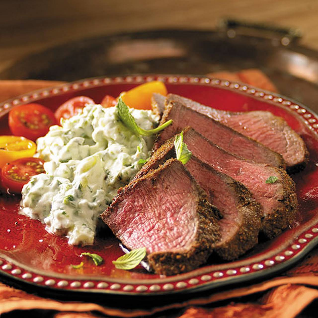 Indian Spiced Beef Filets with Cucumber Raita