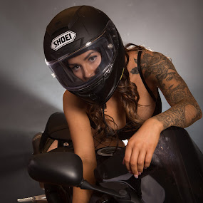 Women who ride.. Catherine by Gary Bradshaw - People Portraits of Women