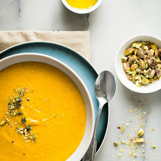 Butternut Squash Soup with Pistachios and Chili Oil