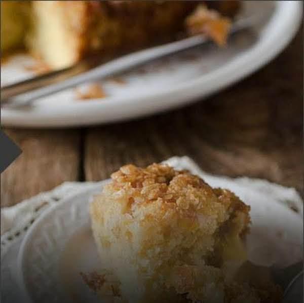 Upside Down Peach Crumb Cake