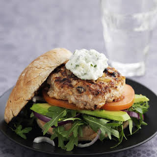Herbed Dill Pickle Chicken Burgers With Tarragon Mayonnaise.