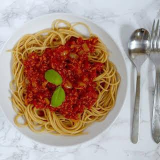 Easy Vegan Spaghetti Bolognese.