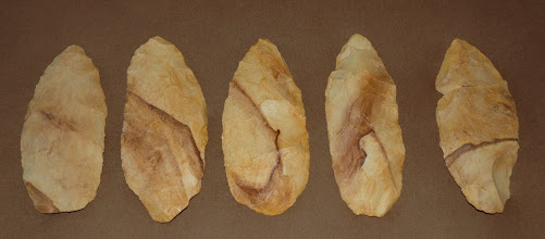 Photo: Jackson county Five. Cached bifaces, possibly 9,000 years old.  All made of the same material, no doubt at the same time, one person probably crafted them and then buried them.  Why?