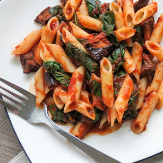 Roasted Eggplant & Spinach Penne Recipe