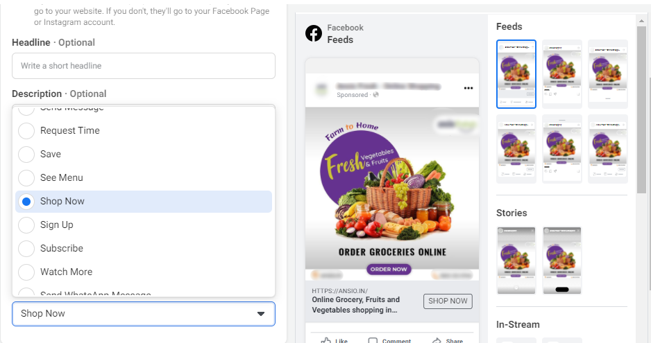 Setup the AD Objective to Boost Grocery Sales via Facebook Ads - Lia Infraservices