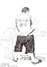 Photo: 病舍雜役2012.07.18鋼筆 為了照顧病舍的收容人,監所都會選用部份收容人去受訓做為看護及協助病舍雜務之用,他們都會陪同病人看診好掌握病況,在舍房則要負責照顧臥床收容人的起居,辛苦了你們!
