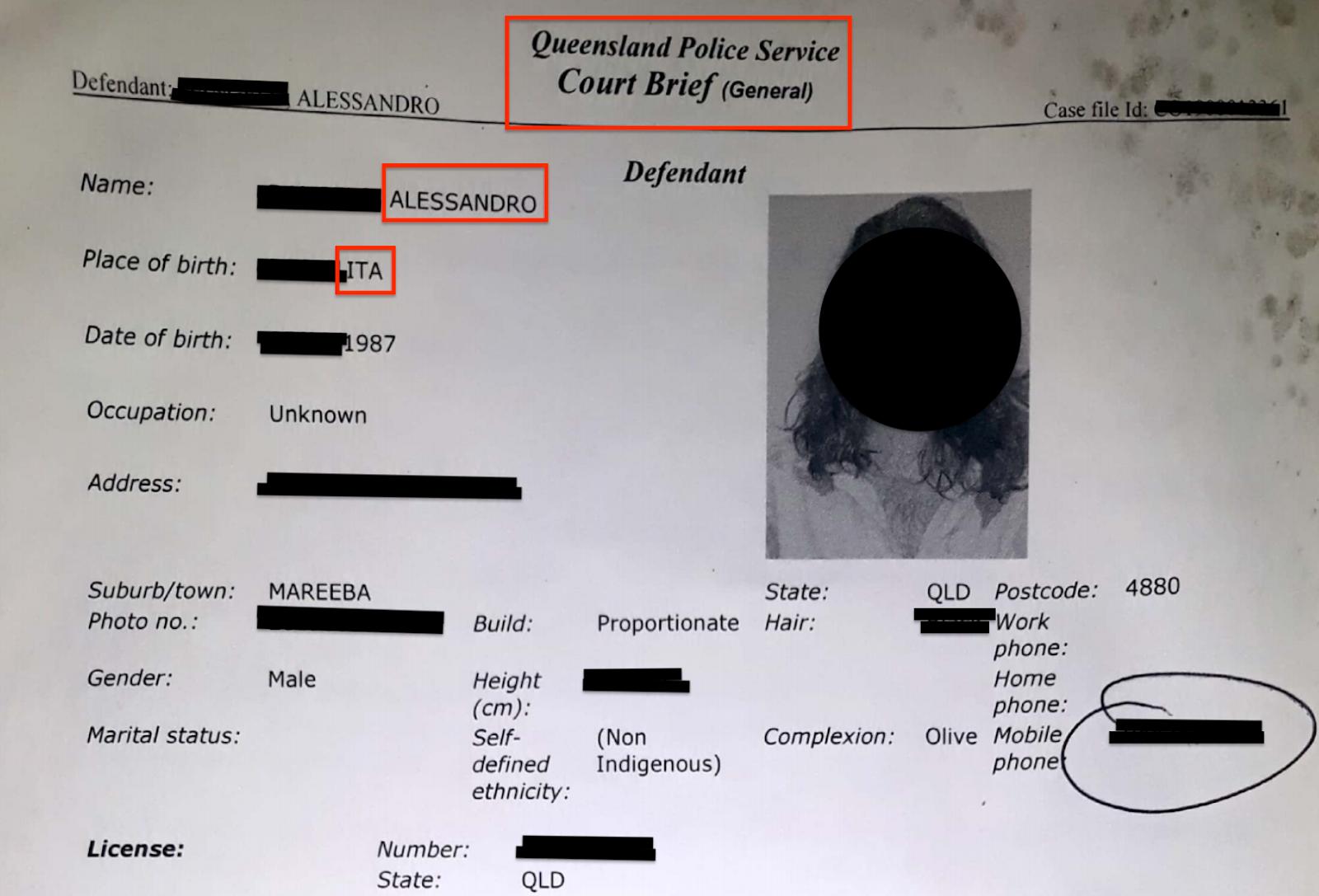 Documentazione di ottenuto rimpatrio di un assistito dall'Australia
