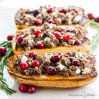 Stuffed Delicata Squash with Beef & Cranberries (Low Carb, Gluten-Free) Recipe