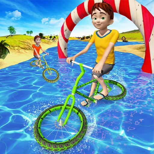 Kids Beach Water Cycle Surfing Games