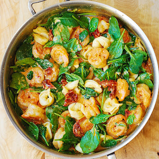 Tortellini with Shrimp and Veggies.