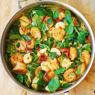 Tortellini with Shrimp and Veggies.