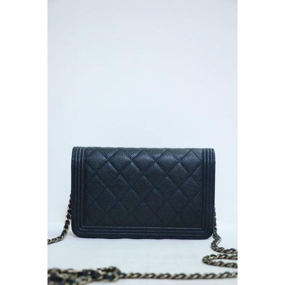 925d992d626f (SOLD)CHANEL A80287 LeBoy WOC CC Logo 深藍色牛皮金鏈肩背袋手袋in Navy Blue Calfskin  Handbag with Gold Hardware 8M003U