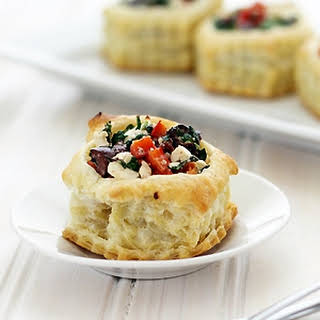 Greek Puff Pastry Appetizers with Kalamata Olives.