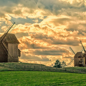 windmills by Tomasz Marciniak - Buildings & Architecture Other Exteriors ( windmills, evening, poland,  )