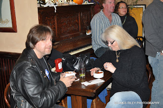Photo: Christina and I dig into our Dancing Cat Chili - Photo by Jerry Cohen