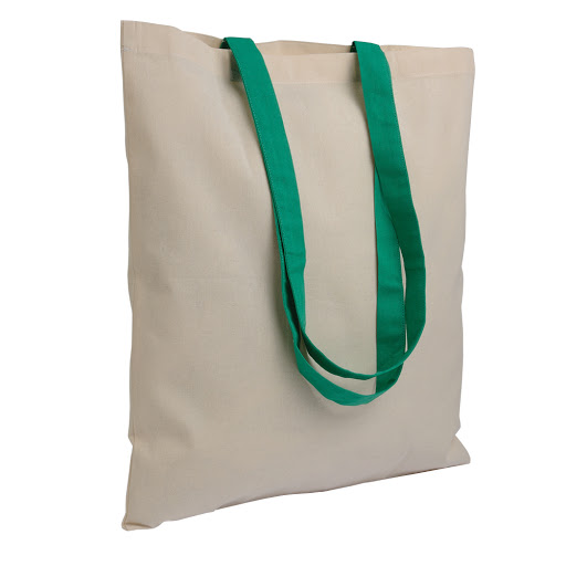 Natural Cotton Shopper with Long Coloured Handles