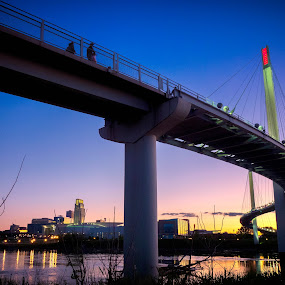 Bob Kerrey Bridge by Matt Workman - Buildings & Architecture Bridges & Suspended Structures ( water, omaha, reflection, skyline, sunset, cityscape, bridge, landscape, suspended, river )