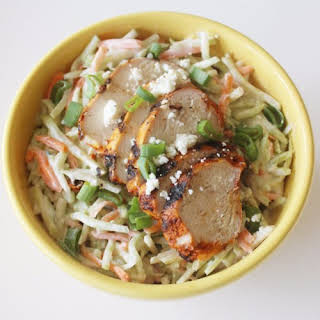 Chicken Slaw Salad With Blue Cheese Yogurt Dressing.