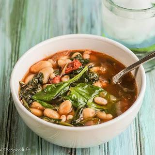 Garlic, White Bean & Chorizo Stew With Spinach & Sherry Vinegar