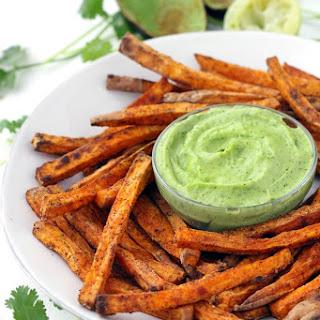 Crispy Baked Sweet Potato Fries with Avocado Cilantro Sauce Recipe