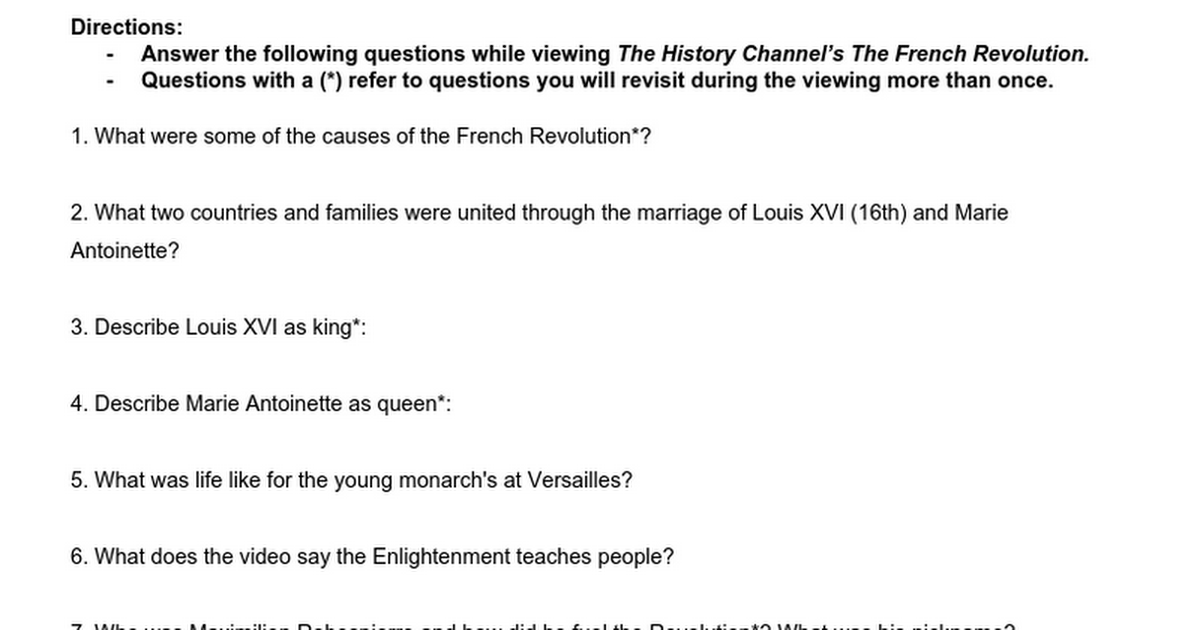 French Revolution Video Viewing Guide Google Docs
