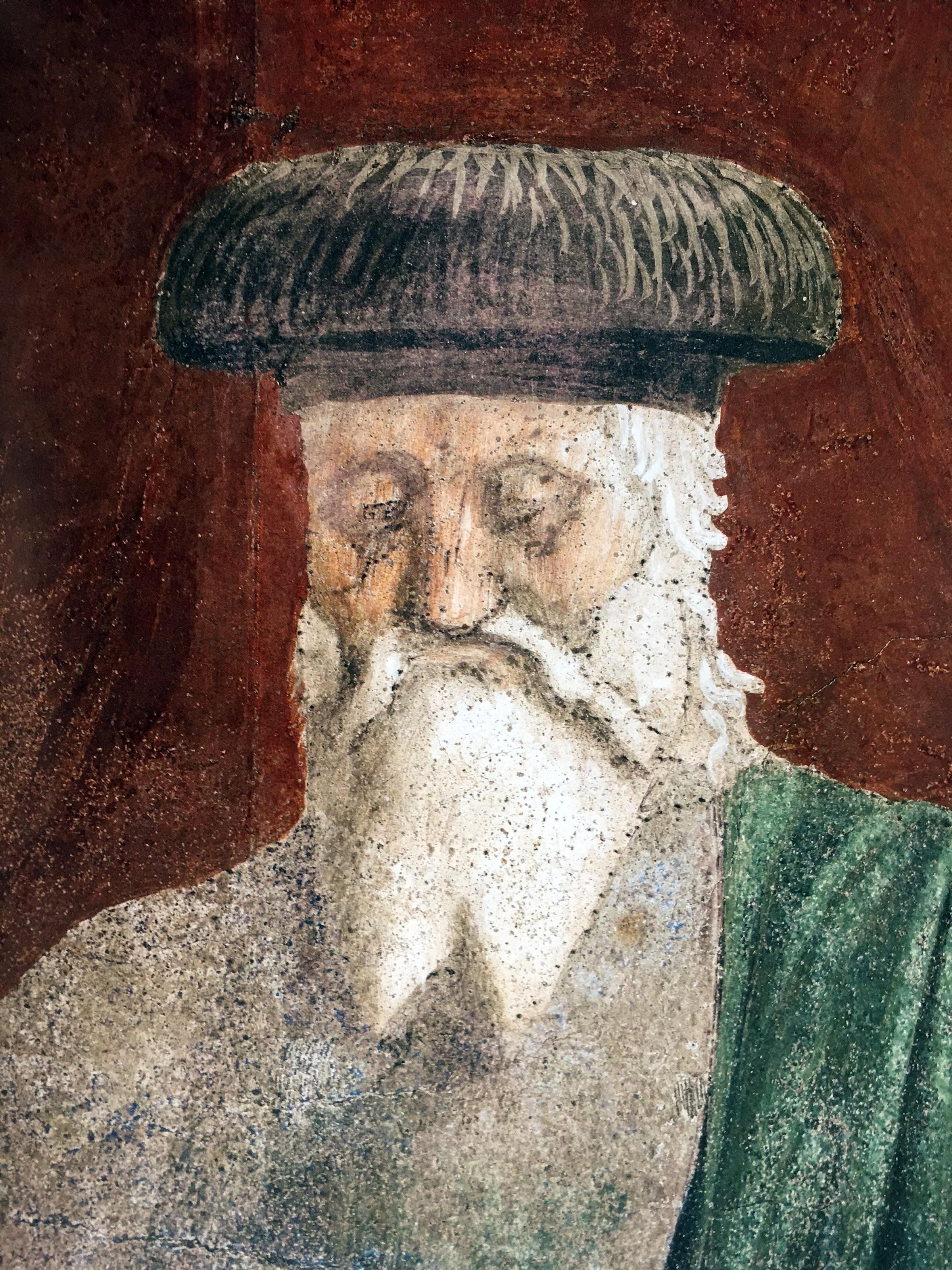 Piero della Francesca, Esaltazione della croce (dettaglio dell'anziano), Basilica di San Francesco, Arezzo