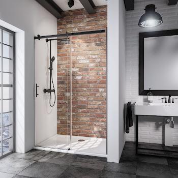 Porte de douche coulissante en niche, 100, 120, 140 ou 160 cm, roulettes en haut, style industriel, profilé noir