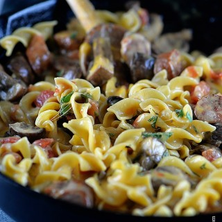 Cheesy Mushroom Sausage Pasta Skillet