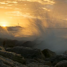 Golden Hour Splashing Waves at O'Sullivan Beach, South Australia by Sharon Wills - Landscapes Beaches ( water spray, southern beaches, australian, osullivans, o'sullivans, sea, ocean, beach, adelaide suburbs, coastal, o'sullivan beach, southern suburbs, osullivan beach, splashing, sunset, australia, south, crashing, rocks, osullivans beach, oceana, golden hour,  )