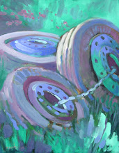 Photo: Rodeo Tires, oil on canvas by Nancy Roberts, copyright 2014.