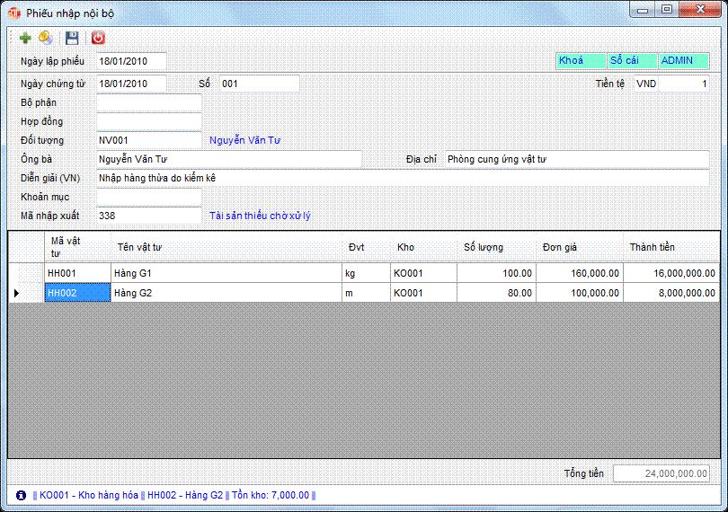 Phiếu nhập nội bộ phần mềm kế toán 3tsoft