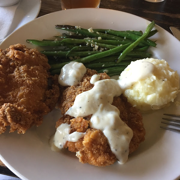Chicken fried chicken. I had two types of gravy in separate bowls