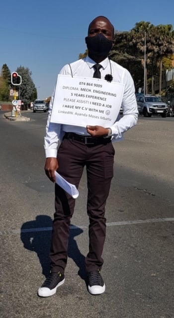 Ayanda Mbatha in July with his work advert request in Blairgowrie Johannesburg.