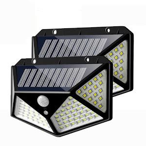 Set 2 x Lampa 100 LED cu panou solar, senzor de miscare