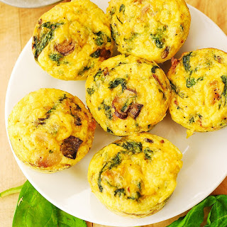 Breakfast Egg Muffins with Mushrooms and Spinach.