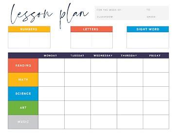 Elementary Lesson Plan - Planner template
