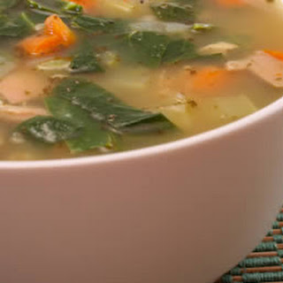 Chicken Soup with Collard Greens, Carrots, and Brown Rice.