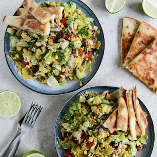 Chopped Chicken Taco Salads with Cheese Quesadilla Strips.